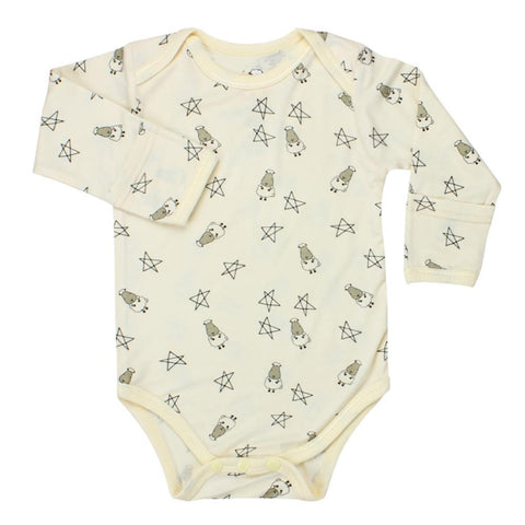 BaaBaaSheepz Bamboo Long Sleeve Onesie Yellow Small Star & Sheepz
