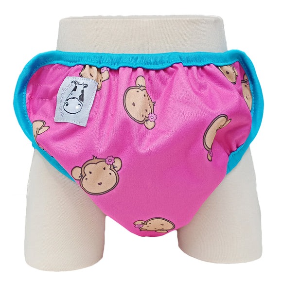 One Size Swim Diaper Lucky Mooky Pink with Blue Border