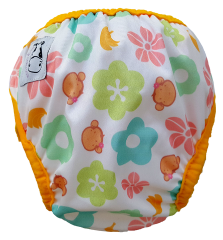 MooMooKow One Size Swim Diaper Mooky Flower with Yellow Border
