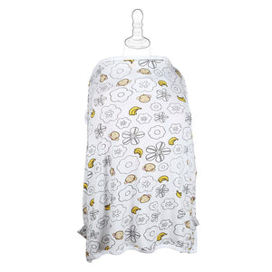 DooDooMooky Bamboo Nursing Cover Apron Type Adjustable size White Mooky Flower Banana