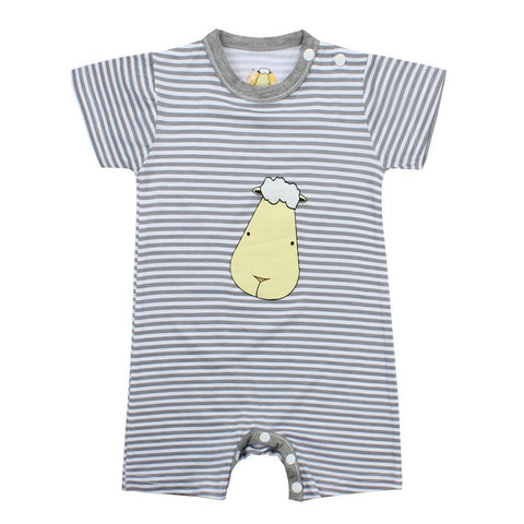 BaaBaaSheepz Bamboo Romper Short Sleeve Big Face with Grey Stripe