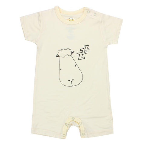 BaaBaaSheepz Bamboo Romper Short Sleeve Yellow Sleepy Head