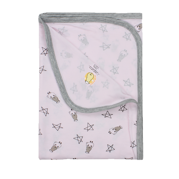 Single Layer Blanket Pink Small Star & Sheepz Large