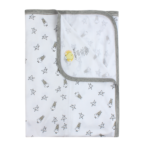 BaaBaaSheepz Bamboo Single Layer Blanket White Small Star & Sheepz Large