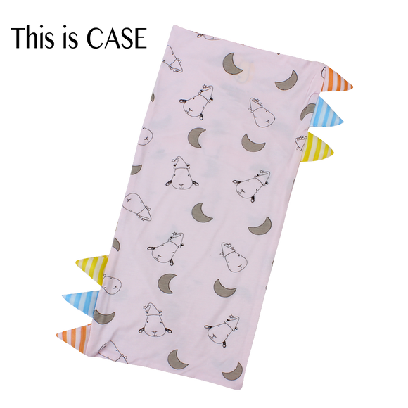 Bed-Time Buddy Case Small Moon & Sheepz Pink with Stripe tag - Medium