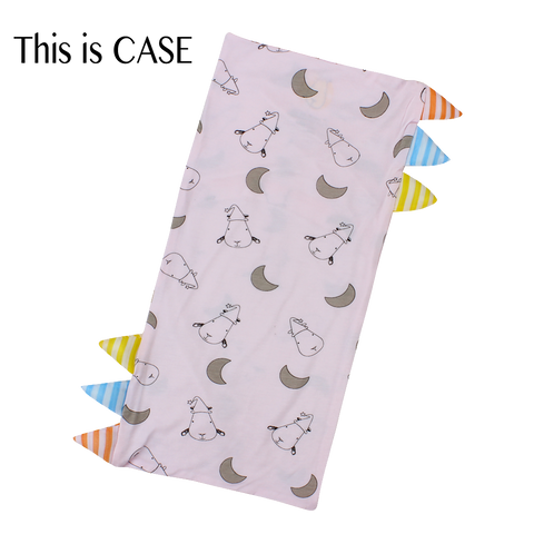 Bed-Time Buddy Case Pink Small Moon & Sheepz with stripe tag Medium size