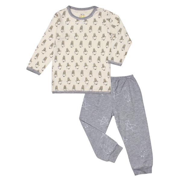 BaaBaaSheepz Bamboo Long Sleeve Shirt Yellow Small Sheepz + Pant Grey Big Star & Sheepz