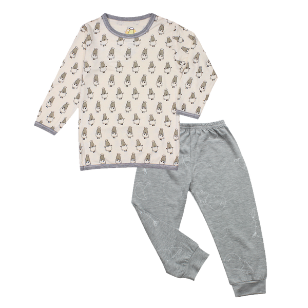 Pyjamas Set Yellow Small Sheepz + Grey Big Moon & Sheepz