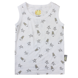 BaaBaaSheepz Bamboo Sleeveless Shirts (Small Star Sheepz - White)