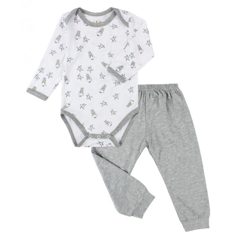 BaaBaaSheepz Bamboo Long Sleeve Onesie White Small Star & Sheepz + Pant Grey