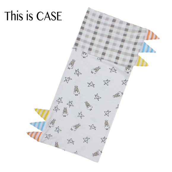 Bed-Time Buddy Case Small Star & Sheepz White + Checkers Grey with Stripe tag - Medium