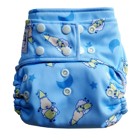 MooMooKow Cloth Diaper One Size Snap - BaaBaaSheepz Blue