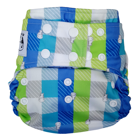 MooMooKow BAMBOO Cloth Diaper One Size Snap - Checkers