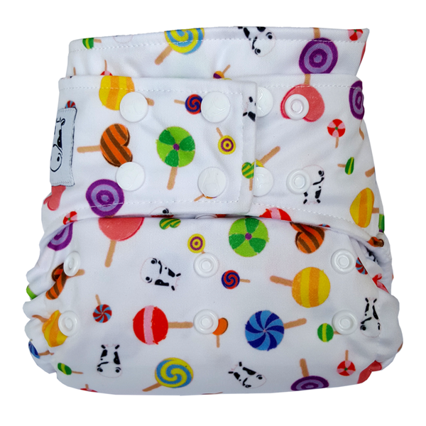 MooMooKow BAMBOO Cloth Diaper One Size Snap - Lollipop
