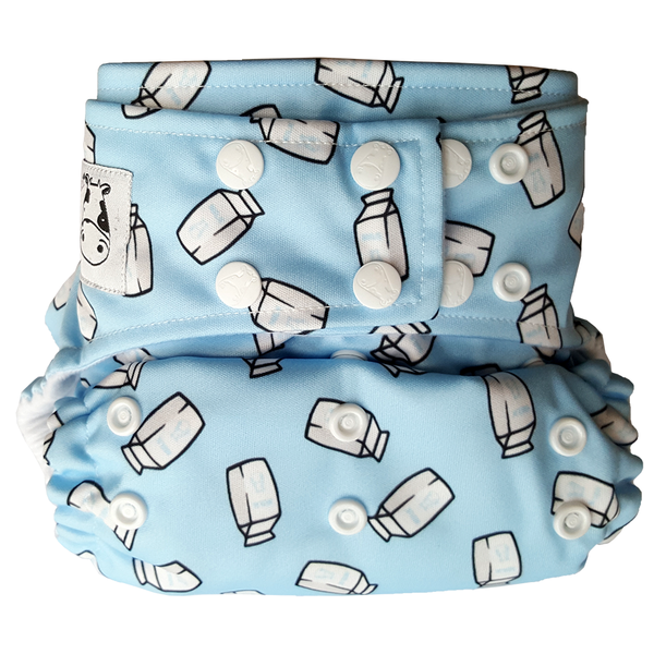 MooMooKow BAMBOO Cloth Diaper One Size Snap - Milk Cartons