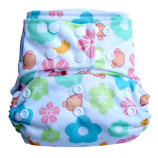 BAMBOO Cloth Diaper One Size Snap - Mooky Flower