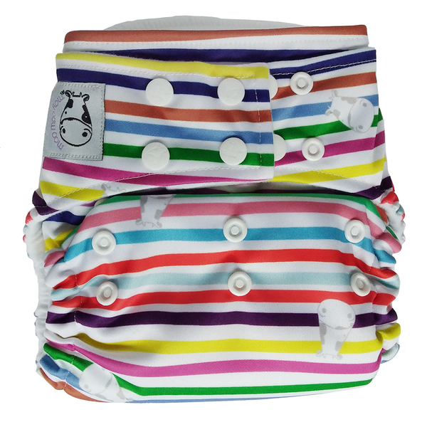 MooMooKow BAMBOO Cloth Diaper One Size Snap - Rainbow