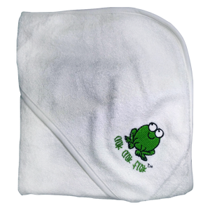 CrokCrokFrok Bamboo Hooded Towel for Baby & Toddler - White