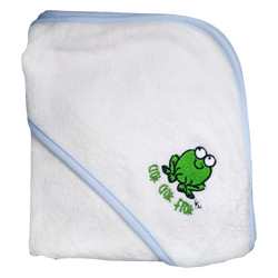 CrokCrokFrok Bamboo Hooded Towel - White with Blue Border