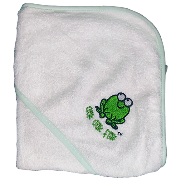 CrokCrokFrok Bamboo Hooded Towel - White with Green Border