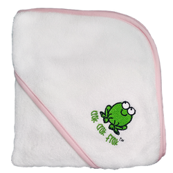 CrokCrokFrok Bamboo Hooded Towel - White with Pink Border