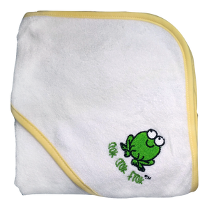 CrokCrokFrok Bamboo Hooded Towel for Baby & Toddler - White with Yellow Border