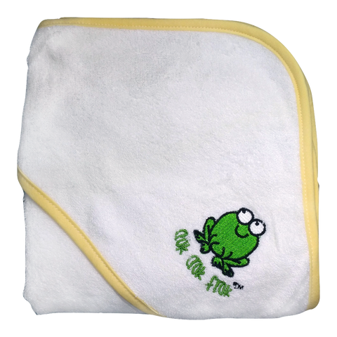 CrokCrokFrok Bamboo Hooded Towel - White with Yellow Border