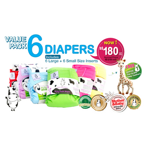 Moo Moo Kow 6 Diapers + Sophie the Giraffe Baby Teethers