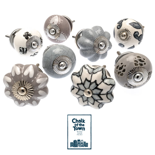 Σετ από 8 Vintage Κεραμικά Πόμολα Γκρι | Light Grey | Vintage knobs (set of 8) - Chalk Of The Town®