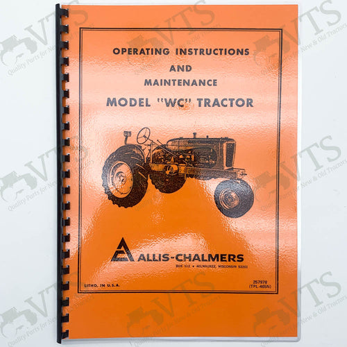 Allis Chalmers WC Maintenance & Operators' Handbook