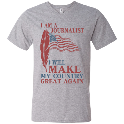 I Am A Journalist. Men's Printed V-Neck T-Shirt-Men T-Shirt-I Share Guru