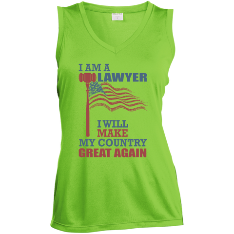 I Am A Lawyer. Sport-Tek Ladies' Moisture Absorbing V-Neck-Women Tank Top-I Share Guru