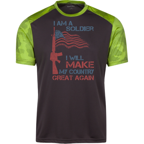 I Am A Soldier. Sport-Tek CamoHex Colorblock T-Shirt-Men T-Shirt-I Share Guru