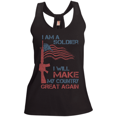 I Am A Soldier. Ladies' Shimmer Loop Back Tank-Women Tank Top-I Share Guru