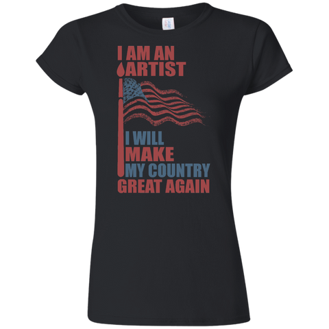 I Am An Artist. Softstyle Ladies' T-Shirt-Women T-Shirt-I Share Guru