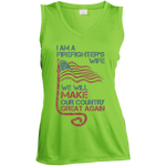 I Am A Firefighter's Wife. Sport-Tek Ladies' Sleeveless Moisture Absorbing V-Neck-Funny, Smart and Inspiration shirts with saying