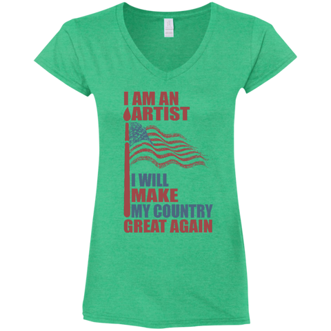 I Am An Artist. Ladies' Fitted Softstyle V-Neck T-Shirt-Women T-Shirt-I Share Guru