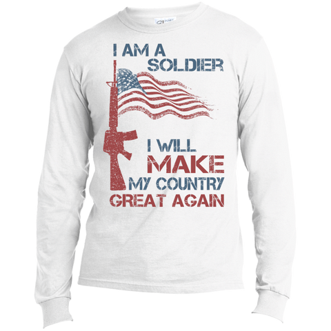 I Am A Soldier. Port & Co. T-Shirt-Men Long Sleeves-I Share Guru