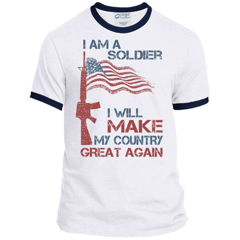 I Am A Soldier. Port & Co. Ringer Tee-Men T-Shirt-I Share Guru