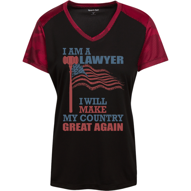 I Am A Lawyer. Sport-Tek Ladies' CamoHex Colorblock T-Shirt-Funny, Smart and Inspiration shirts with saying
