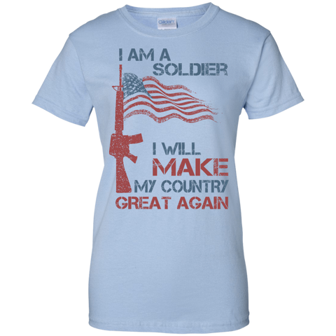 I Am A Soldier. Ladies' 100% Cotton T-Shirt-Women T-Shirt-I Share Guru