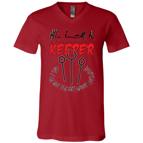 I'm a keeper. Unisex Jersey V-Neck T-Shirt-Men T-Shirt-I Share Guru