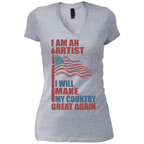I Am An Artist. Junior's Vintage Wash V-Neck T-Shirt-Women T-Shirt-I Share Guru