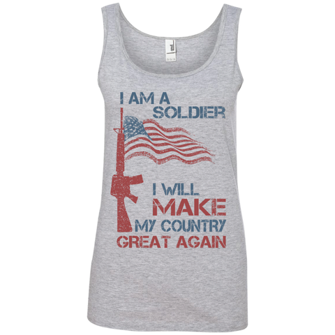I Am A Soldier. Ladies' 100% Cotton Ringspun Tank Top-Women Tank Top-I Share Guru