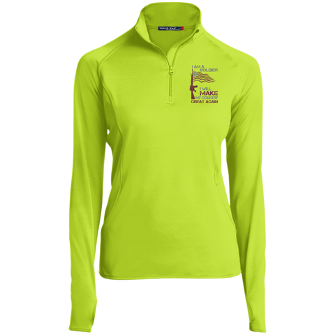 I Am A Soldier. Sport-Tek Women's 1/2 Zip Performance Pullover-Women Long Sleeves-I Share Guru
