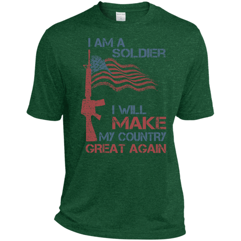 I Am A Soldier. Sport-Tek Heather Dri-Fit Moisture-Wicking T-Shirt-Men T-Shirt-I Share Guru