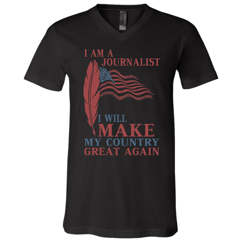 I Am A Journalist. Unisex Jersey V-Neck T-Shirt-Men T-Shirt-I Share Guru