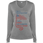 I Am A firefighter. Sport-Tek Long Sleeves Heather Dri-Fit V-Neck T-Shirt-Funny, Smart and Inspiration shirts with saying