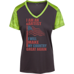 I Am An Artist. Sport-Tek Ladies' Colorblock T-Shirt-Funny, Smart and Inspiration shirts with saying