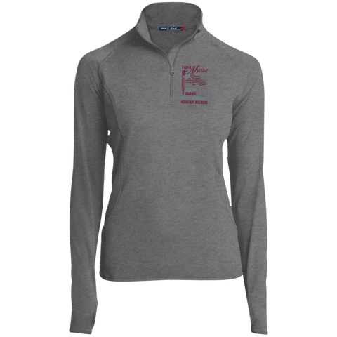 I Am A Nurse. Sport-Tek Women's 1/2 Zip Performance Pullover-Sweatshirts-I Share Guru